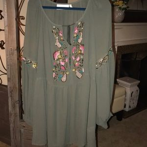 Tops - Plus size 3x GRAY SHEER Blouse. NWOT